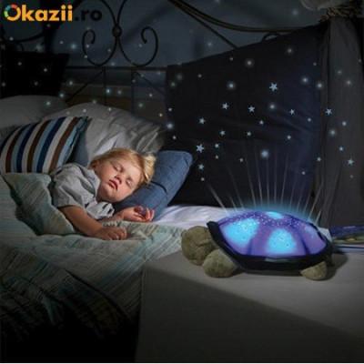 Lampa de  veghe copii Proiector tavan broscuta testoasa muzicala + cablu USB foto