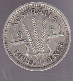 Bnk mnd Australia 3 pence 1951 argint, Australia si Oceania