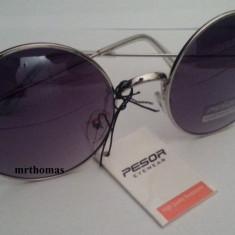 Ochelari de soare rotunzi John Lennon lentile negre degrade gradient style retro, Unisex, Negru, Protectie UV 100%, Metal