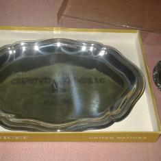 Tava argintata unicef Suport pahar placat in argint marcat N.S.