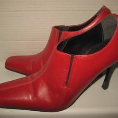 Pantofi Dama made in Italy culoare rosie din piele, marime 39, toc de 9 cm - Pantof dama, Culoare: Rose, Cu toc
