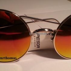 Ochelari de soare rotunzi John Lennon lentila rosie oglinda style retro, Unisex, Auriu, Metal, Protectie UV 100%