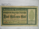 5 milioane marci 1923 notgeld Germania Bayerische bank, 5 millionen mark Bavaria