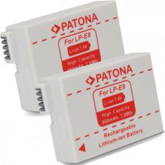 PATONA | 2 Acumulatori pt CANON EOS LP-E8 LPE8 LPE-8 | 950mAh - Baterie Aparat foto