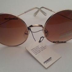 Ochelari de soare rotunzi John Lennon lentila maro degrade gradient style retro, Unisex, Protectie UV 100%, Metal