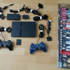 Consola Slim PlayStation 2 Sony + 23 Jocuri Originale + 2 Manete + Card