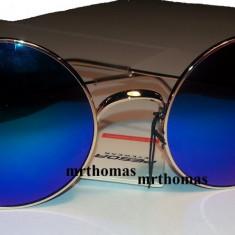 Ochelari de soare rotunzi John Lennon lentila albastru oglinda style retro, Unisex, Protectie UV 100%