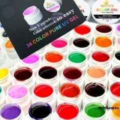 Kit Set Gel 36 Color Geluri Colorate GD COCO Lampa uv Manichiura + 3 x Sclipici - Gel unghii Coco, Gel colorat