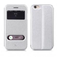 Husa + bumper 2in1 piele HOCO IPHONE 6 cu view - SMART COVER, culoare: SILVER - Husa Telefon Hoco, Argintiu, Piele Ecologica, Cu clapeta