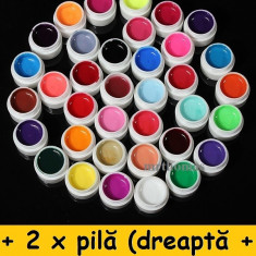 Kit Set Gel 36 Color Geluri Colorate GD COCO Lampa uv Manichiura + 2 x Pila, Gel colorat