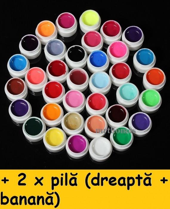 Kit Set Gel 36 Color Geluri Colorate GD COCO Lampa uv Manichiura + 2 x Pila