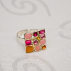 Inel fashion cu pietre colorate