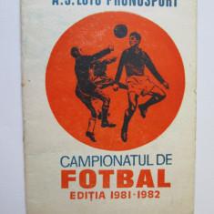PROGRAM CAMPIONATUL DE FOTBAL EDITIA 1981-1982 - Program meci