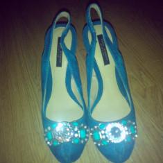 Sandale ZARA - Sandale dama Zara, Culoare: Turcoaz, Marime: 38, Piele intoarsa