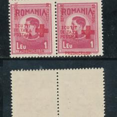 RFL ROMANIA 1945 Crucea Rosie Prizonieri pereche eroare sursarj mult deplasat - Timbre Romania, Nestampilat