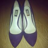 Pantofi ZARA - Pantof dama Zara, Culoare: Mov, Marime: 38, Piele intoarsa, Cu platforma