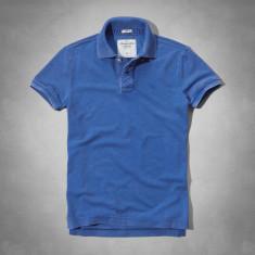 ABERCROMBIE & FITCH TRICOU POLO - Tricou barbati Abercrombie & Fitch, Marime: L, Culoare: Albastru, Maneca scurta, Bumbac