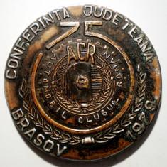 5.624 MEDALIE ROMANIA BRASOV AUTO ACR CONFERINTA JUDETEANA 1979 75 ANI 59mm - Medalii Romania
