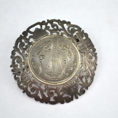 Brosa argint, model gravat ghitara, inspiratie Belle Epoque, vintage, Argentina