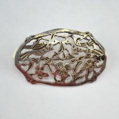 Brosa argint vechi, model Belle Epoque, semnata, Danemarca, stil Art Nouveau