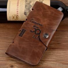 Portofel Bailini piele + textil + piele eco maro brown fashion capsa siguranta - Portofel Barbati, Coffee, Cu inchizatoare