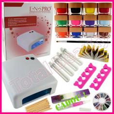 Kit Unghii Gel cu Lampa UV 12 geluri UV color si accesorii + CADOU Ulei cuticule