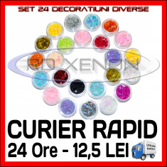 SET 24 DECORATIUNI DIVERSE FORME - MANICHIURA UNGHII FALSE GEL UV - PRET MINIM