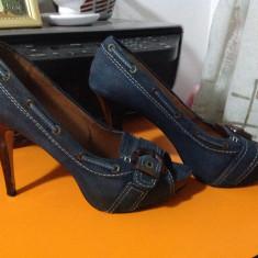 PANTOFI ZARA WOMAN 41 - Pantof dama, Culoare: Albastru, Piele naturala