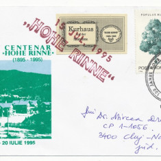 RFL 1995 ROMANIA vigneta mica Hohe Rinne Paltinis circulata plic special FDC - Timbre Romania, Transporturi, Stampilat