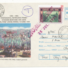 RFL 1995 ROMANIA eseu culoare vigneta Hohe Rinne Paltinis circulat pe plic FDC 2 - Timbre Romania, Transporturi, Stampilat