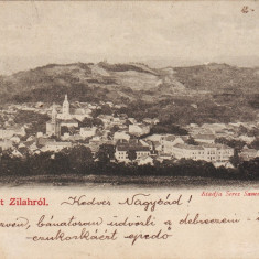 Ok-1529- Romania, Zilah, Zalau carte postala circulata 1901: Panorama - Carte Postala Crisana pana la 1904, Fotografie