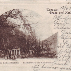 Romania, Herkules, Herculane carte postala circulata 1901: Izvorul Carol, baia H - Carte Postala Banat pana la 1904, Fotografie, Baile Herculane