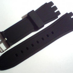 Curea swatch neagra din silicon de 23mm, latime.