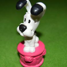 Figurina jucarie catel, caine alb cu negru, plastic 10 cm McDonalds 2008