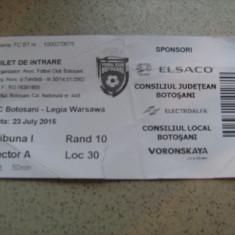 Bilet de meci FC Botosani - Legia Varsovia (23 iulie 2015) - Bilet meci