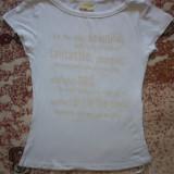 Tricou alb - Tricou dama, Maneca scurta, Bumbac