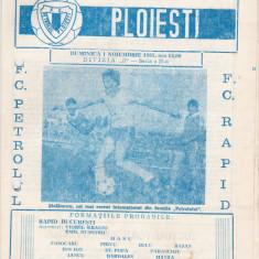 Program meci fotbal PETROLUL PLOIESTI - RAPID BUCURESTI 01.11.1981