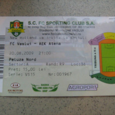 Bilet de meci FC Vaslui - AEK Atena (20 august 2009) - Bilet meci