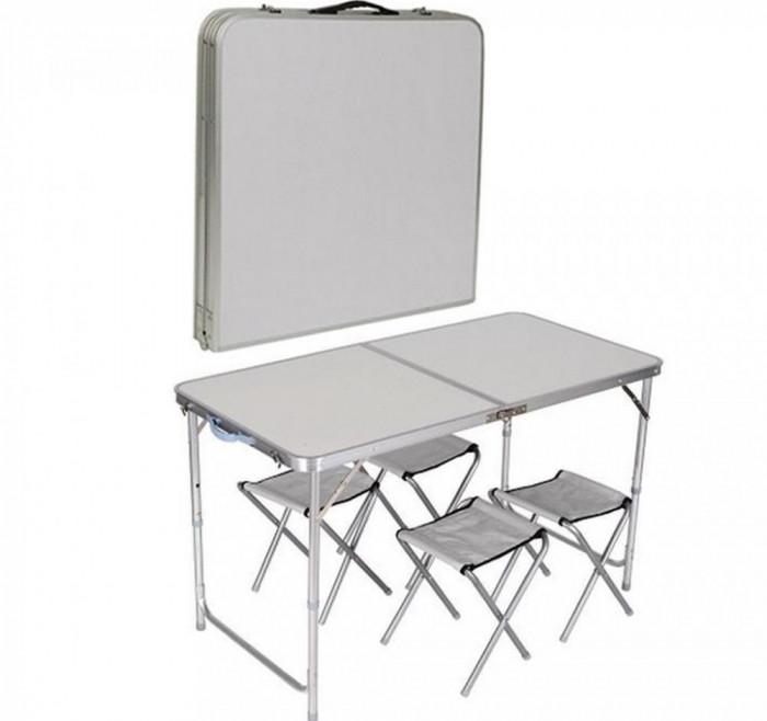 set masa si patru scaune pliante camping si pescuit. Black Bedroom Furniture Sets. Home Design Ideas