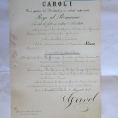 RARISIM! BREVET SEMNAT CAROL I STEAUA ROMANIEI MARE OFICER PT. 2 GENERALI MAIORI