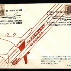 ROMANIA - PRIMUL ZBOR TAROM BUCURESTI - VIENA - CHICAGO, tiraj limitat! - Timbre Romania
