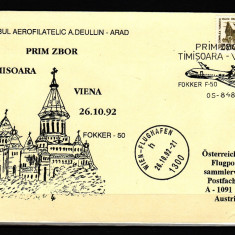 ROMANIA - PRIM ZBOR TIMISOARA - VIENA, tiraj limitat - Timbre Romania