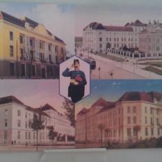 Vedere Timisoara Palatul Postelor din diverse unghiuri - Carte Postala Banat 1904-1918, Necirculata, Fotografie