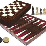 Joc table lux lemn lacuit zaruri os autentice inchidere magnetica 48 x 24 cm - Set table