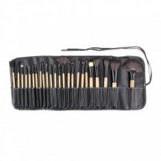 24 Pensule Profesionale Make Up - Kit + Borseta Piele - Pensula machiaj