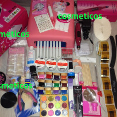 Kit set manichiura unghii false- lampa UV, pila, geluri ccn, tipsuri - KIT BEST