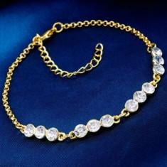 Superba bratara 9k GOLD FILLED cu cristale de Zircon CZ - Bratara placate cu aur
