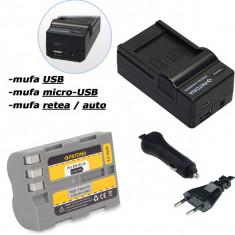 PATONA | Incarcator 4in1 USB + Acumulator pt Nikon EN-EL3e ENEL3e D70s D80 D90 - Incarcator Aparat Foto
