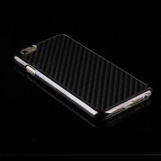 """Husa fibra carbon negru Iphone 6 plus 5,5"""" + folie protectie ecran"""