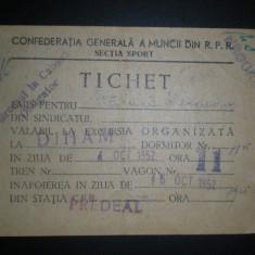 Tichet excursie Predeal - cabana Diham - 1952 - Confederatia Generala a Muncii